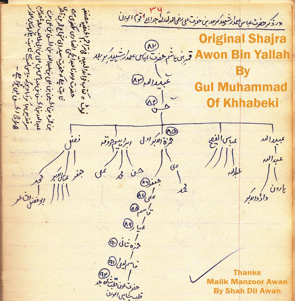 Shajra Nasab Awon Bin Yallah By Gul Muhammad Awan